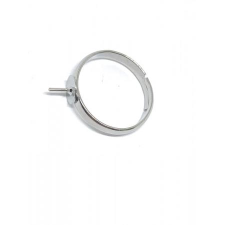 Основа под кольцо, под серебро. родий/латунь, регулируемый размер, 3