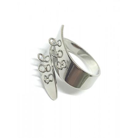 Основа под кольцо, под серебро. родий/латунь, регулируемый размер, 7