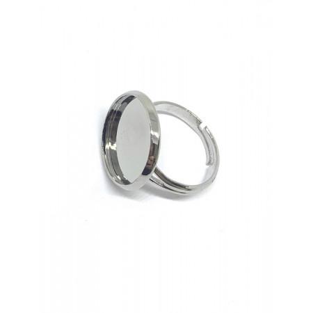 Основа под кольцо, под серебро. родий/латунь, регулируемый размер, 8