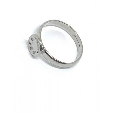 Основа под кольцо, под серебро. родий/латунь, регулируемый размер, 9