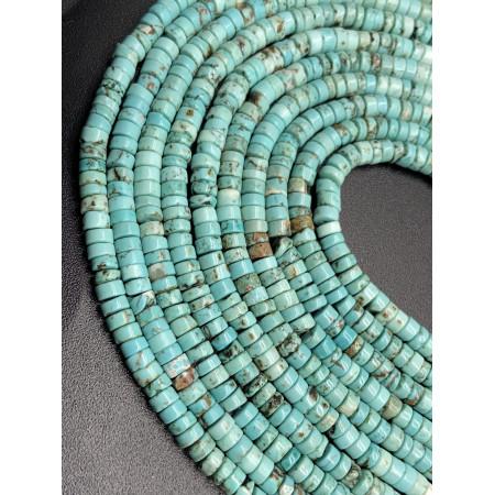 Каменные бусины, Бирюза, светло-зелёная, 4х2 мм, длина нити 38 см