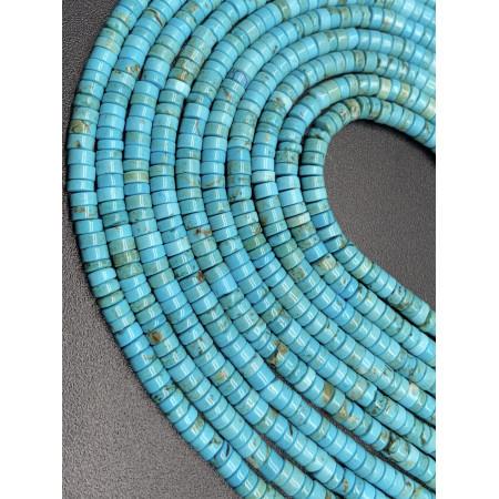 Каменные бусины, Бирюза, голубая, 4х2 мм, длина нити 38 см