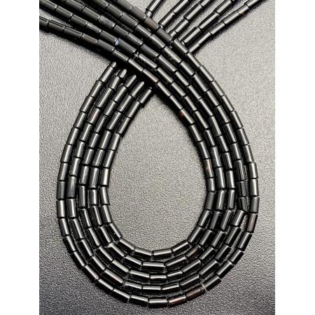 Каменные бусины, Агат, черный, тонированный, трубочки, 4х2 мм, длина нити 38 см