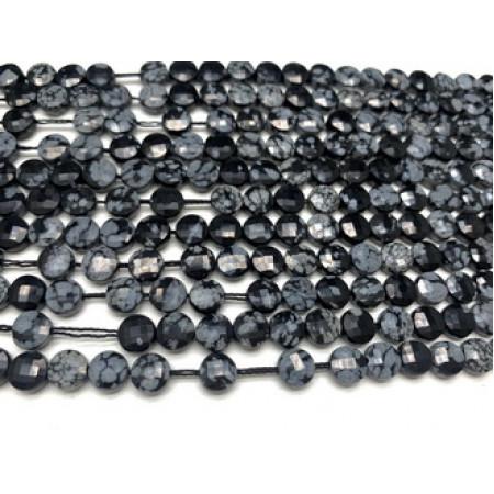 Каменные бусины, Снежный обсидиан, огранка, монетка, 6 мм, длина нити 38 см
