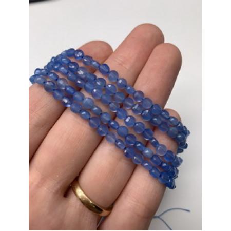 Каменные бусины, Агат голубой, огранка, монетка, 4 мм, длина нити 38 см