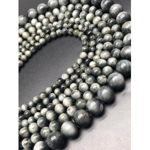 Каменные бусины, Соколиный глаз, премиум, шарик гладкий, 10 мм, длина нити 38 см