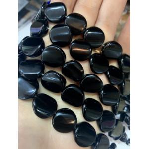 Каменные бусины, Оникс черный люкс, плоские бусины, 16 x 16 x 6 мм, нить 38 см