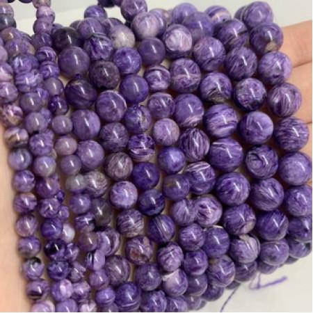 Каменные бусины, Чароит, , шарик гладкий, размер 10 мм, нить 19 см ( полнити )