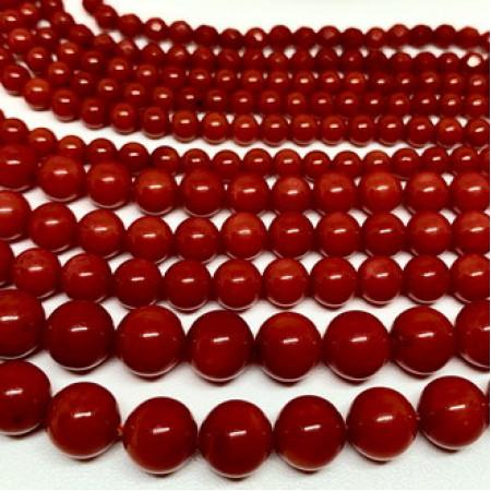 Каменные бусины, Коралл, красный, тонированный, шарик гладкий, 4 мм, длина нити 38 см