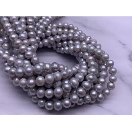 Каменные бусины, Жемчуг, серебристый, шарик гладкий, 8,5 мм, длина нити 38 см
