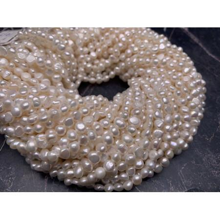 Каменные бусины, Жемчуг, белый, фриформы, 6 мм, длина нити 38 см