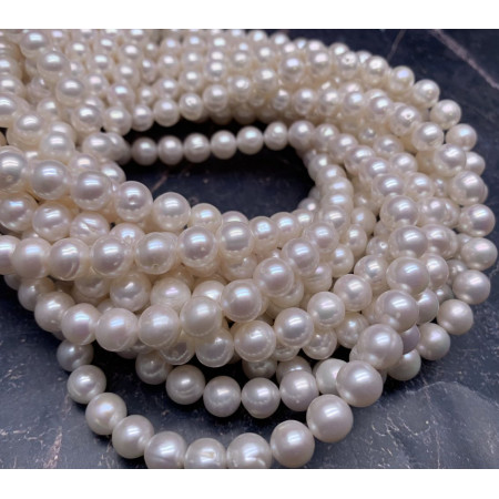 Каменные бусины, Жемчуг, белый, люкс, шарик гладкий, 8 мм, длина нити 38 см