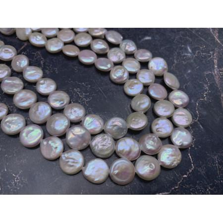 Каменные бусины, Жемчуг, люкс, монета плоская, 12 мм, длина нити 38 см