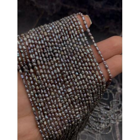 Каменные бусины, Жемчуг, люкс, серебристый, рис, 2 мм, длина нити 38 см
