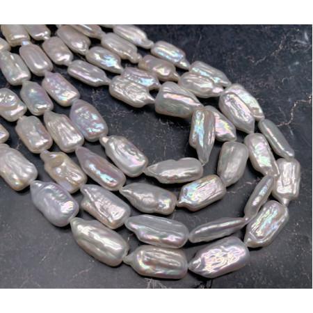 Каменные бусины, Жемчуг, люкс, пластина, 20х10 мм, длина нити 38 см