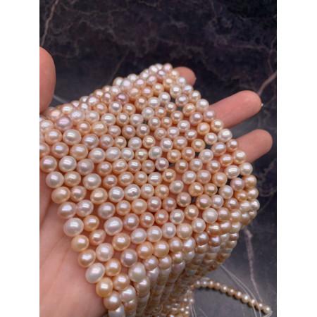 Каменные бусины, Жемчуг, персиковый, шарик гладкий, 7,5 мм, длина нити 38 см