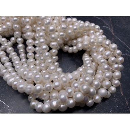 Каменные бусины, Жемчуг, белый, шарик гладкий, 8,5 мм, длина нити 38 см