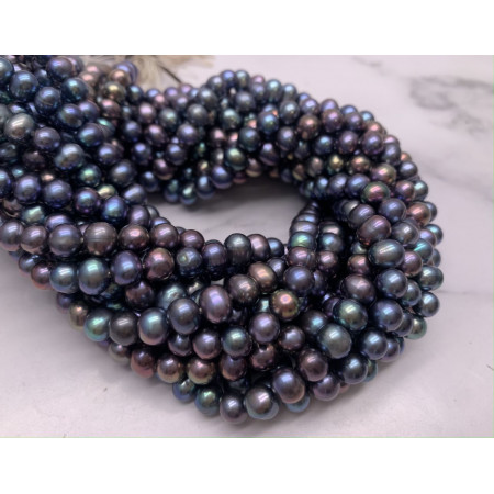 Каменные бусины, Жемчуг, черный, шарик гладкий, 6 мм, длина нити 38 см