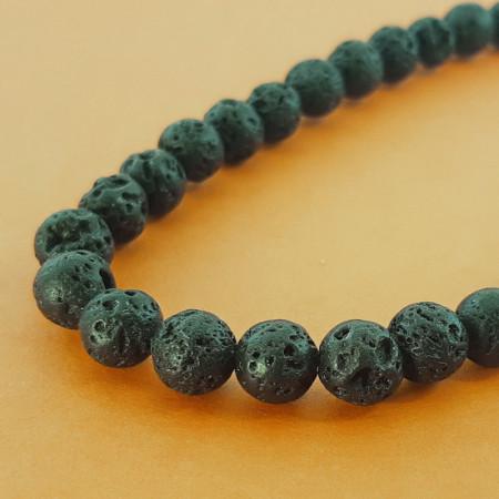 Каменные бусины, вулканическая лава черная, 90 бусин, шарик гладкий, 10 мм