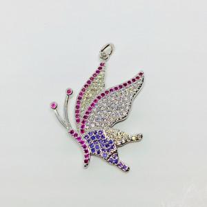 Подвеска бабочка с цветными кристаллами, под серебро , Milano LUX, 27,6x26 мм
