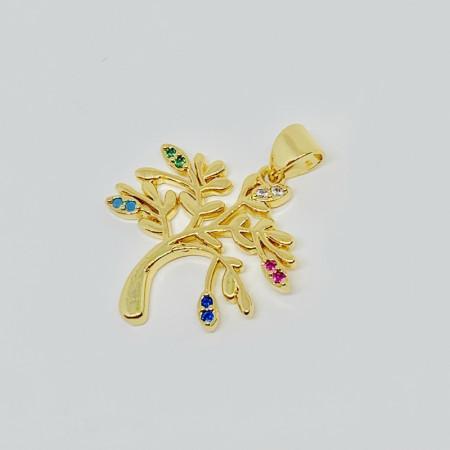 Подвеска дерево  с цветными кристаллами, под золото , Milano LUX, 20x25 мм