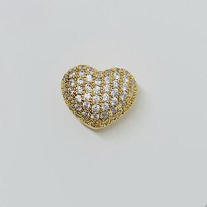 Бусина Сердце со стразами, под золото, Milano LUX, 14х12мм