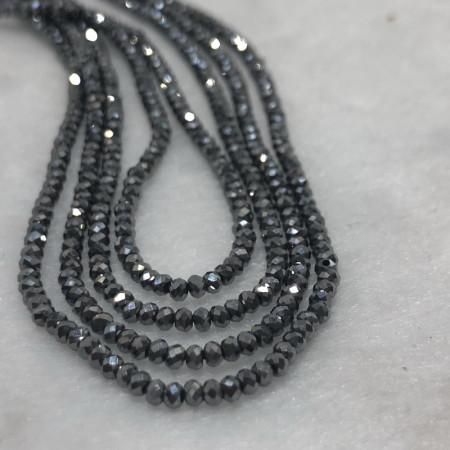 Каменные бусины, Терагерц, огранка рондель 2 x 1,5 мм, нить 40 см