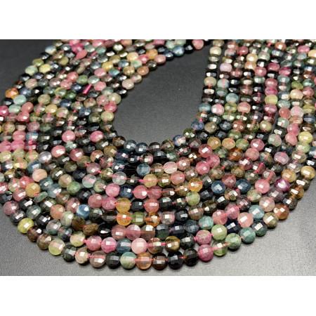 Каменные бусины, Турмалин, монетка, огранка, 4,5х2,5 мм, длина нити 38 см
