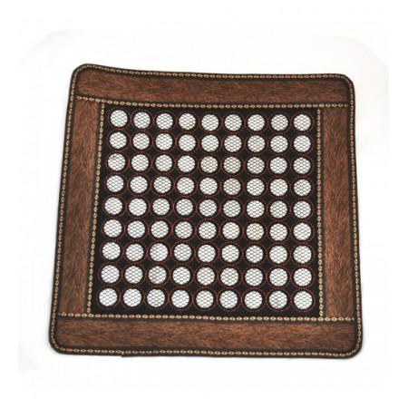 Нефритовый коврик квадратный коричневый маленькие камни (43 х 43 см)