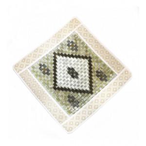 Коврик квадратный белый люкс с нефритовыми пластинами,  430 х 430 мм
