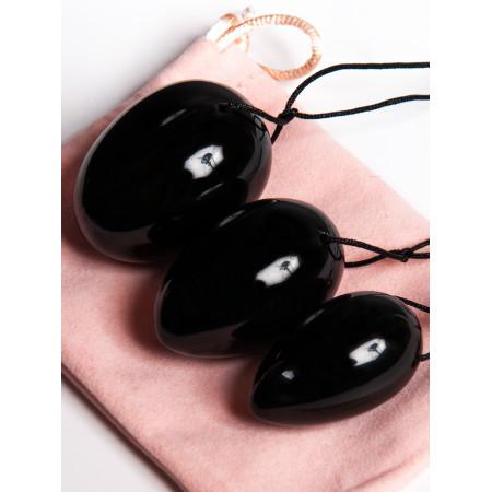 Яйца из черного обсидиана Люкс, набор из 3-х штук
