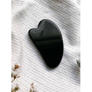 Скребок для массажа Гуаша из черного обсидиана в форме мини-сердца, 70 x 45 x 5 мм
