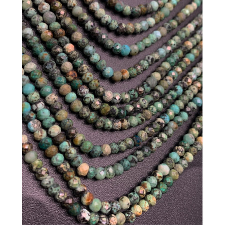 Каменные бусины, Африканская бирюза, рондель, 4х2 мм, длина нити 38 см