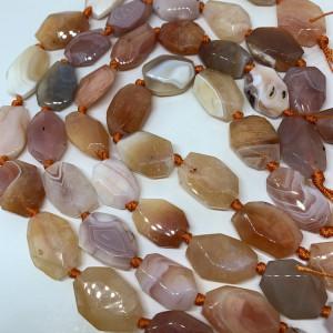 Каменные бусины, Персиковый Агат, размер 25 х 16 мм, нить 40 см, 14 бусин
