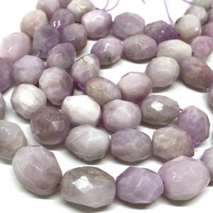 Каменные бусины, Кунцит , размер 12 х 16 мм, нить 40 см, 25 бусин