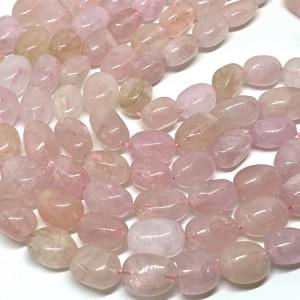 Каменные бусины, Морганит, размер 14 х 9 мм, нить 40 см, 28 бусин