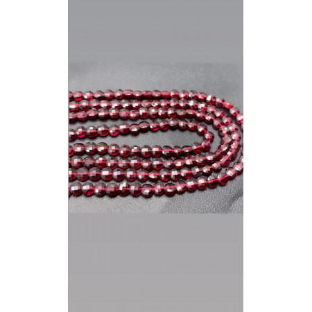 Каменные бусины, Гранат, монетка, люкс, огранка, 4 мм, длина нити 38 см арт. 129066