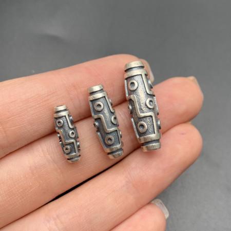 "Бусина из тайского серебра, ""Дзи 9 глаз"", 26х9 мм"