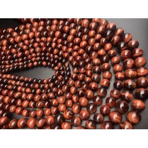 Каменные бусины, Бычий глаз, 6 мм, шарик гладкий, длина нити 38 см