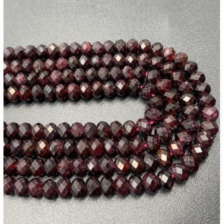 Каменные бусины, Гранат, огранка, рондель, 6x4 мм, длина нити 38 см
