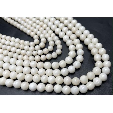 Каменные бусины, Коралл, белый, шарик гладкий, 6,5 мм, длина нити 38 см