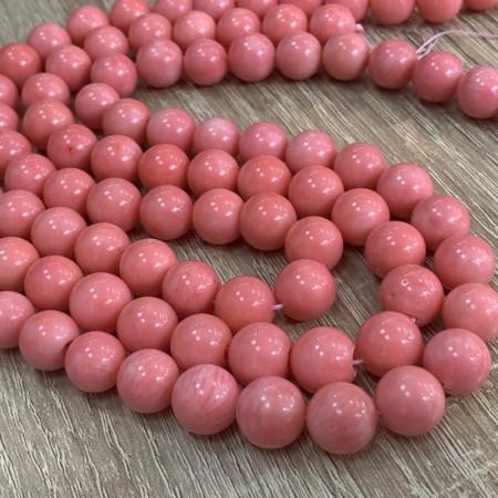 Каменные бусины, Коралл, розовый, шарик гладкий, 8,5-9 мм, нить 40 см