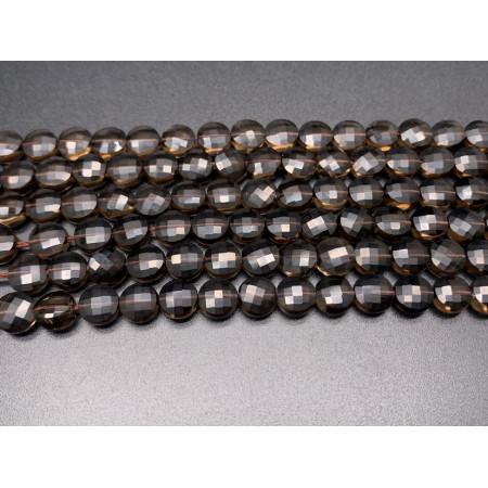 Каменные бусины, Раухтопаз, огранка, монетка, 6,5 мм, длина нити 38 см