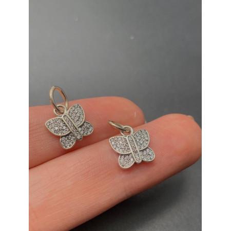 """Подвеска """"бабочка"""", родированное серебро 925, 10,5х8,5 мм"""