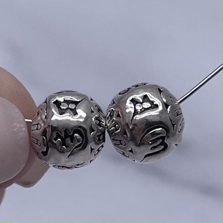 """Бусина, """"Мантры"""", из тайского серебра, размер 10 мм"""
