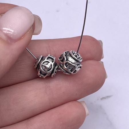 Бусина с узором, из тайского серебра, размер 10 мм