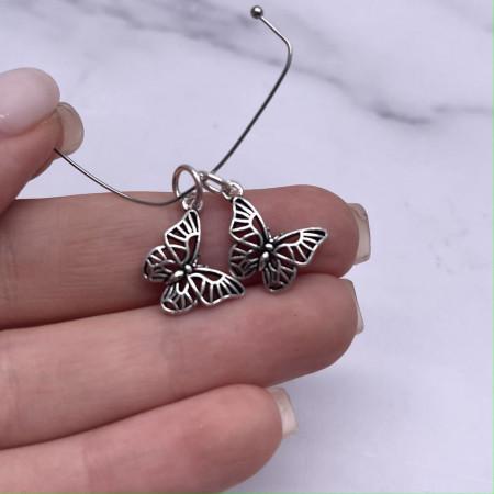 "Подвеска, ""Бабочка""(двусторонняя), из тайского серебра, размер 20х11 мм"