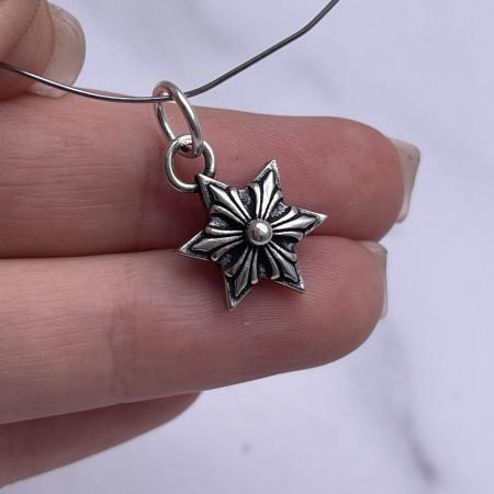 "Подвеска, ""Звезда""(двусторонняя), из тайского серебра, размер 25,5х15,5 мм"