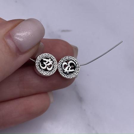 """Разделитель """"Ом"""", из тайского серебра, размер 10,5х4,5 мм"""