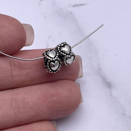 """Разделитель """"Сердца"""", из тайского серебра, размер 9х5,5 мм"""